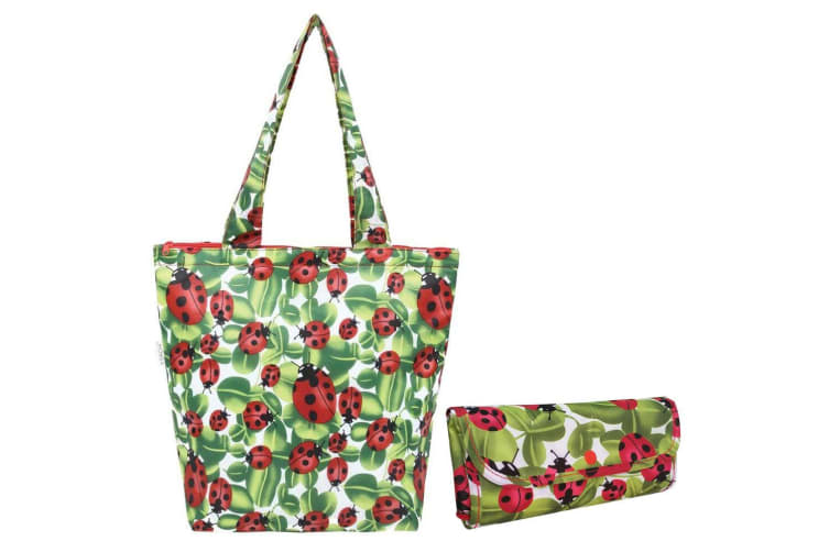 Sachi 40cm Insulated Thermal Cooler Shopping Bag Storage Market Tote Lady Bug