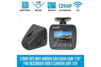 Elinz 1296P GPS WiFi Hidden Car Dash Cam 170deg FHD Recorder Video Camera DVR 12V 1080P