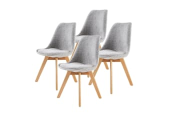 Replica Eames Fabric Padded Dining Chair - GREY X4