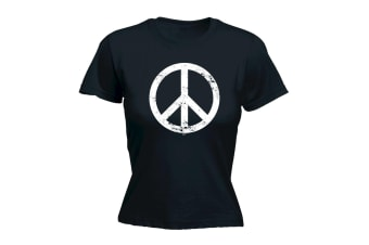 123T Funny Tee - Peace Sign - (Large Black Womens T Shirt)