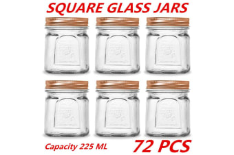 72 x 225ml Square Vintage Glass Jar Rose Gold Lid Kitchen Food Storage Jars Canister