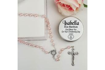 Christening Pink Pearl Rosary Beads Personalised Tin