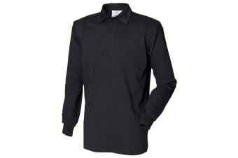 Front Row Long Sleeve Classic Rugby Polo Shirt (Black/Black) (L)