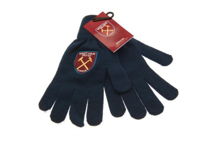 West Ham United FC Unisex Adults Knitted Gloves (Navy/Claret) (One Size)
