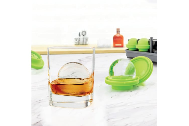 4pc Tovolo Round Sphere Mould Bar Silicone Party Whiskey Ice Ball Maker Tray DIY