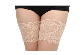 Women'S Sexy Lace Top Silicon Strap Anti-Skid Thigh Nightclub High Stockings A Skin S(36-39Cm)