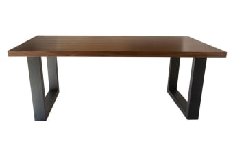 Global Rectangular Dining Table | Matte Black & Walnut | 200cm