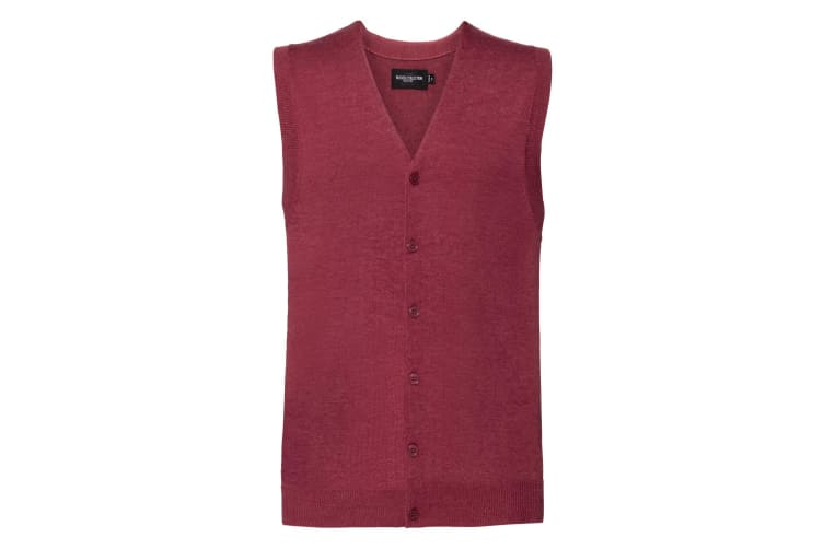 Russell Mens Sleeveless Cotton Acrylic V Neck Cardigan (Cranberry Marl) (3XL)