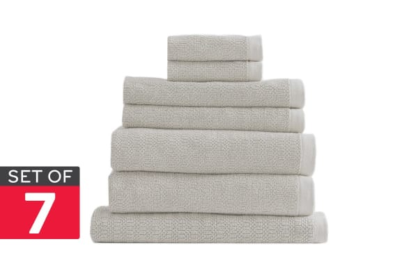 Style & Co Resort Set of 7 600 GSM Egyptian Cotton Jacquard Towels (Vanilla)