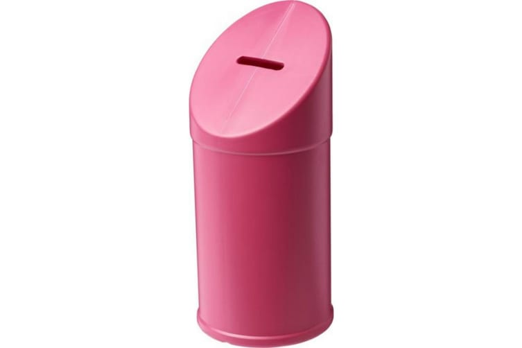 Bullet Heba Plastic Charity Container (Pink) (One Size)
