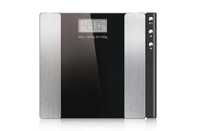 SOGA Black Digital Body Fat Scale Bathroom Weight Gym Glass Water LCD Electronic