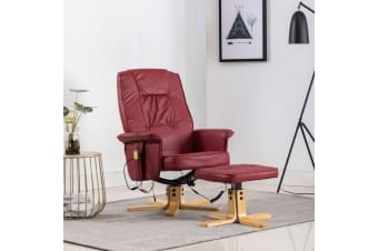 vidaXL TV Massage Recliner with Footstool Wine Red Faux Leather