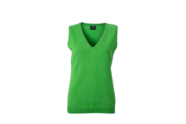 James and Nicholson Womens/Ladies V-Neck Sweater Vest (Green) (L)