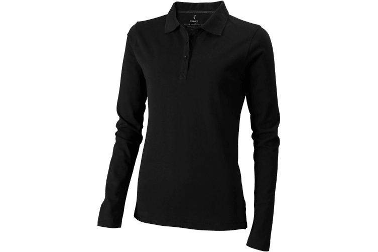 Elevate Oakville Long Sleeve Ladies Polo Shirt (Solid Black) (M)