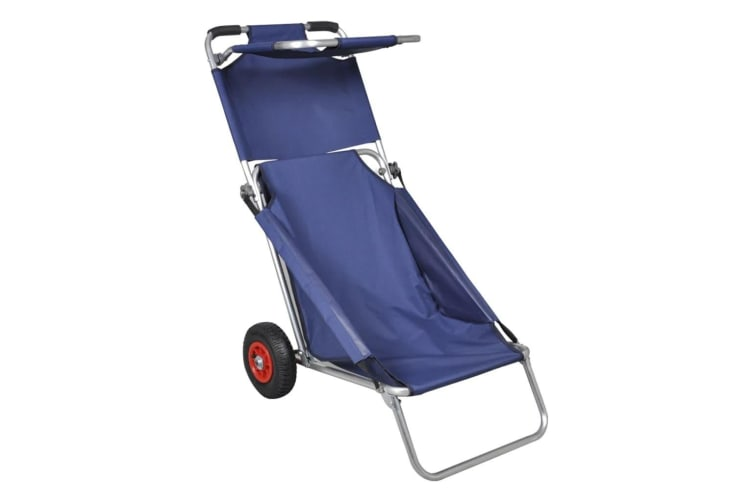 vidaXL Beach Trolley with Wheels Portable Foldable Blue