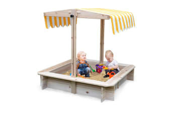 NEW Rovo Kids Sandpit Toy Box Canopy Wooden Outdoor Sand Pit Children Play Cover