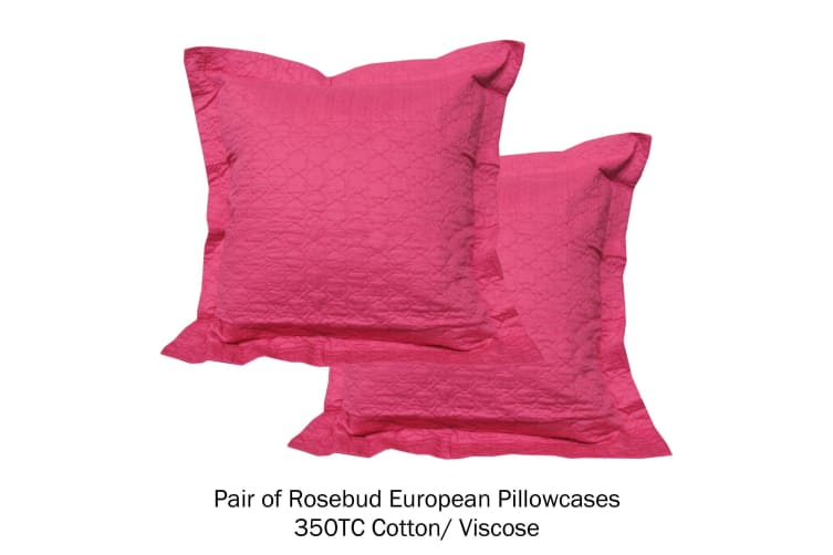 Pair of Quilted European Pillowcases Rosebud