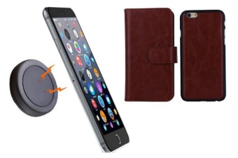 TODO Magnetic Quick Snap Car Mount Leather Credit Card Case Holder Iphone 6+ Plus - Brown