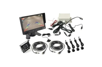 "Elinz 7"" Monitor Car CCD 4PIN Reversing Camera 90deg 600TVL Ultrasonic Parking Sensors"