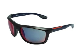 Prada Linea Rossa PS04PS - Black (Grey Mirror Red lens) Unisex Sunglasses