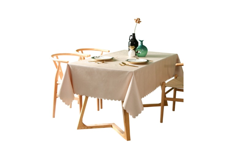 Pvc Waterproof Tablecloth Oil Proof And Wash Free Rectangular Table Cloth Beige 110*170Cm