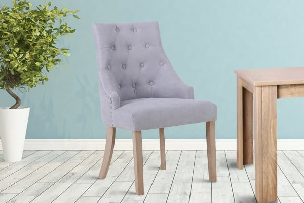 Shangri-La Set of 2 French Provincial Allete Dining Chairs (Ash Grey)