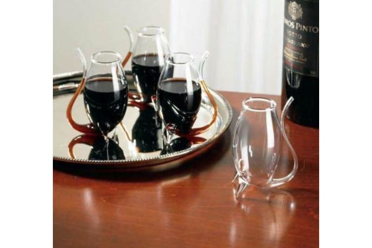 Set of 4 Port Sippers Hand Blown Wine Glass Decanter Drinking