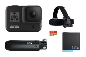 GoPro HERO8 Black Bundle with 32GB SD Card, Extra Battery, Shorty Mount & Head Strap (CHDHX-801)