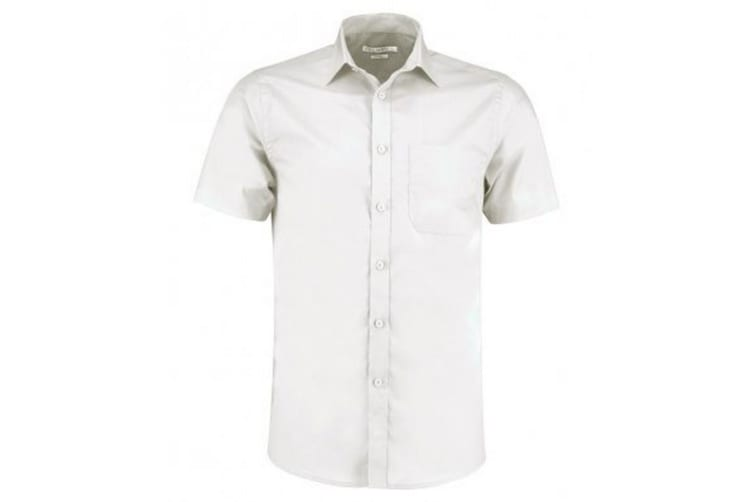 Kustom Kit Mens Short Sleeve Tailored Poplin Shirt (White) (22)