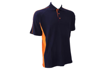 Finden & Hales Mens Sports Polo T-Shirt (Navy/Orange)