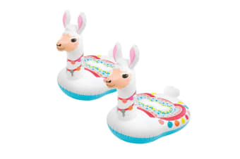 2PK Intex 112cm Inflatable Cute Llama Ride-On Kids Water Toy f/Swimming Pool 3y+