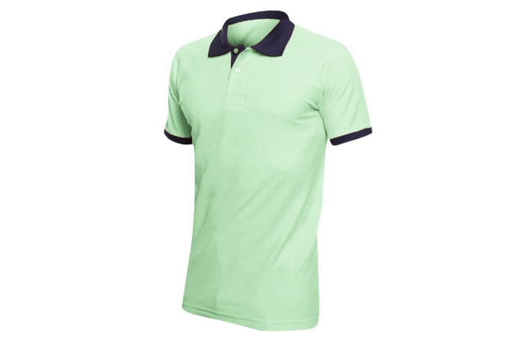 SOLS Prince Unisex Contrast Pique Short Sleeve Cotton Polo Shirt (Apple Green/French Navy) (XXL)