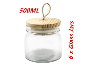 6 x 500ml Glass Jars Multi-purpose Storage Jar Wooden Airtight Lid Canister