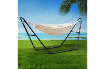 Double Hammock Bed Steel Frame Stand Rope Swing Chair Outdoor Swing