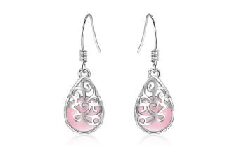 Hullera Blush Drop Earrings-White Gold/Pink