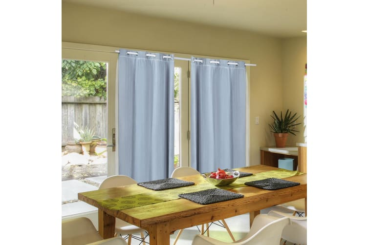 2X Blockout Curtains Panels Blackout 3 Layers Room Darkening Pure With Gauze NEW  -  Aqua180x230cm (WxH)