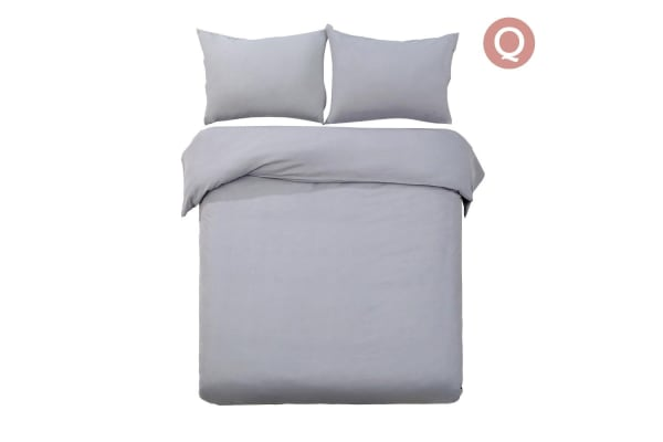 Giselle Bedding Plain Dyed Quilt Cover Set (Queen/Grey)