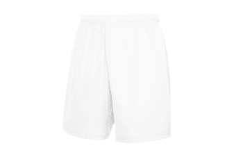 Fruit Of The Loom Mens Moisture Wicking Sports Performance Shorts (White) (2XL)