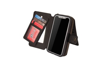 For iPhone XS X Black Genuine Leather Zipper Detachable Phone Wallet Card Case