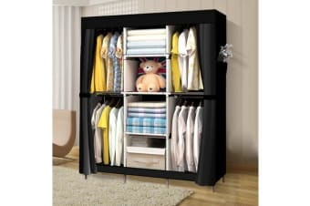 Large Portable Clothes Storage Organizer with Shelves Black (EJ0134)