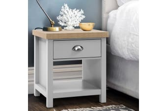 Artiss Bedside Tables Drawers Side Table Nightstand Grey Storage Cabinet MEDI