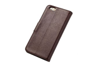 For iPhone 6S 6 Wallet Case Fashion Stylish Cowhide Genuine Leather Cover Brown