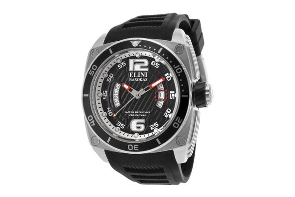 Elini Men's Commander Black Textured Dial Black Silicone (ELINI-10013-01-BB)