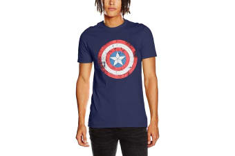 Captain America Unisex Adults Distressed Shield Design T-Shirt (Blue)