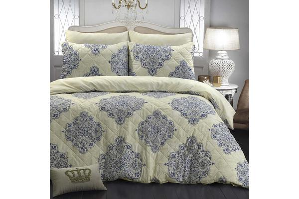 quilted duvet cover. Park Avenue Microfiber Pinsonic Quilted Quilt Cover Set King Victoria - Reversible Duvet
