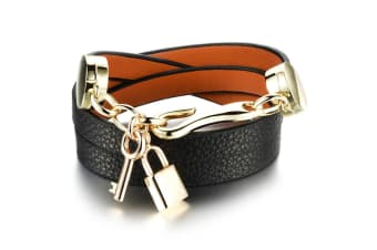 Genuine Cow Leather Wrap Bracelet With 18K Gold Lock & Key Charm-Leather/Black