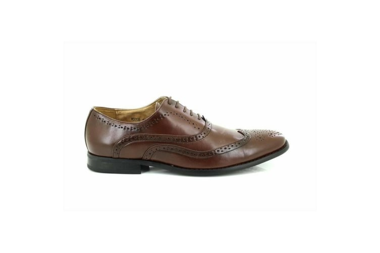 Goor Mens Leather Lace-Up Oxford Brogue Shoes (Brown) (12 UK)