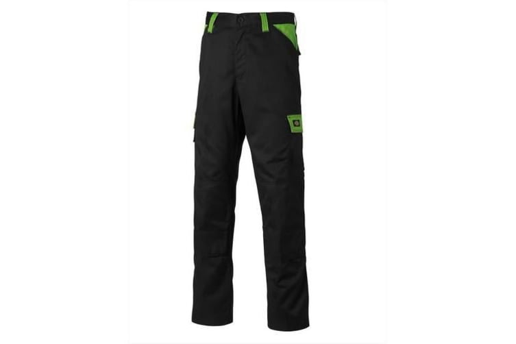 Dickies Mens Everyday Durable Cargo Pocket Work Trousers (Black/Lime) (32R)