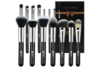 15Pcs Cosmetic Brushes With Baking Lacquer Wooden Handle In Gift Box Silver