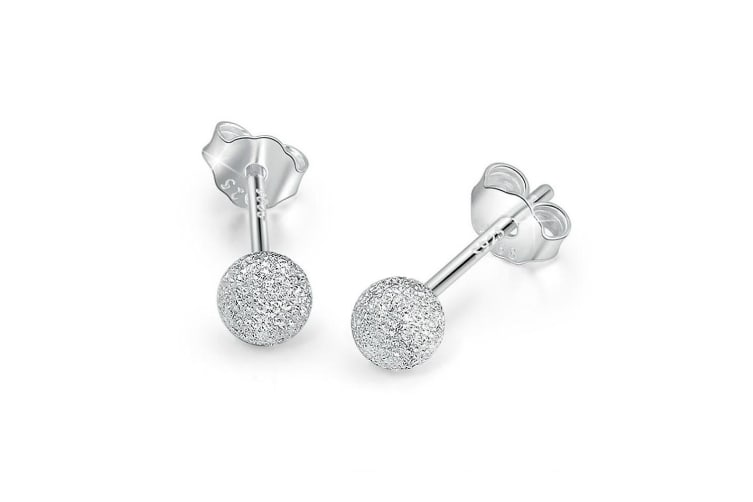 .925 Frosted Silver Ball Stud Earrings 4mm